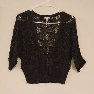 Apt 9 Knitted Black Silver Button Up Sweater Cover